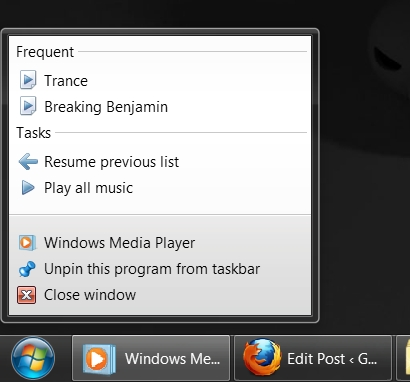 Media Player Jump List